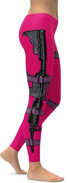Guns & Make-up Hot Pink Leggings - GearBunch Leggings / Yoga Pants