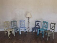 Our stockist Couleurs De Vie in Courbillac, France with chairs painted in Versailles, Duck Egg Blue, Louis Blue, Old Violet, Provence and Chateau Grey.