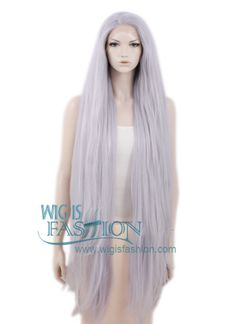 "39"" Long Straight Yaki Silver Grey Customizable Made-To-Order Lace Front Synthetic Hair Wig LF701D - Wig Is Fashion"