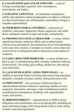 Hare's Checklist / Sociopath / Narcissist All 8 Narcissistic Behavior, Narcissistic Sociopath, Borderline Personality Disorder, Narcissistic Personality Disorder, Abusive Relationship, Toxic Relationships, Healthy Relationships, Trauma, Lack Of Empathy