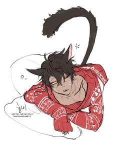 Anime Cat Boy, Neko Boy, Hot Anime Boy, Anime Neko, Cute Anime Guys, Anime Art, Fanarts Anime, Anime Characters, Fantasy Character Design