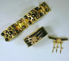 Two Schiaparelli Black and Gold Bracelets 1950s for Sale at Auction on Wed, 11/01/2000 - 07:00 - Couture and Textiles | Doyle Auction House
