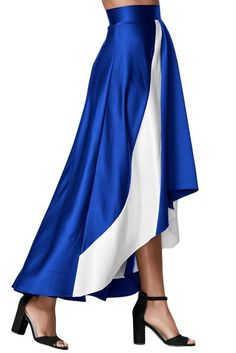 Blue Contrast White Insert Hi-low Maxi Skirt