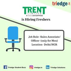 Is sales your thing?  We have a big bowl of opportunity for you.  TRENT LTD, A TATA ENTERPRISE IS HIRING FRESHERS.  PROFILE - SALES ASSOCIATE/OFFICER (ONLY FOR MEN)  LOCATION- DELHI\NCR  So what are you waiting for? Hurry up!! Time is running out, these deals won't last.   Visit: www.triedge.in Marketing Jobs, Digital Marketing, Professional Resume Writers, Resume Summary, Jobs For Freshers, Delhi Ncr, Find A Job, Finance, Big Bowl