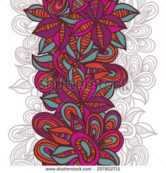 Hand drawn  bright ethnic seamless border. Festive tribal endless background.  Vector backdrop. Bright pattern. Summer template. by Annareic...
