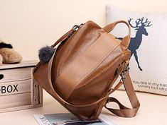 Women's Faux-Leather Vintage Backpack – More than a backpack Vintage Backpacks, Cute Backpacks, Leather Backpacks, Retro Backpack, Backpack Purse, Shoulder Bags For School, School Bags For Girls, Leather School Bag, Shoulder Backpack