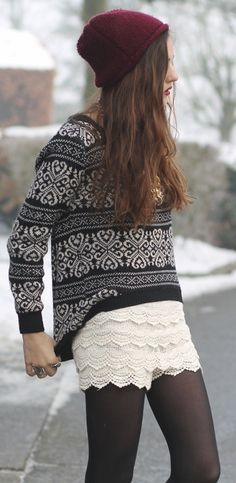 printed sweater, lace shorts, tights, beanie, booties