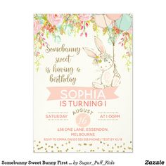 Shop Somebunny Sweet Bunny Baby Shower Invitation created by figtreedesign. First Birthday Themes, First Birthday Invitations, Girl First Birthday, Baby Shower Invitations, First Birthdays, Birthday Ideas, Printable Invitations, Zazzle Invitations, Invites