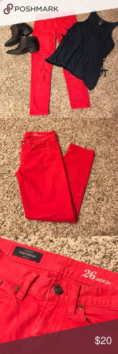 J Crew Red Jeans Red J crew ankle skinny jeans! Super cute statement piece for your summer wardrobe! Like them paired with a bootie! J. Crew Jeans Ankle & Cropped