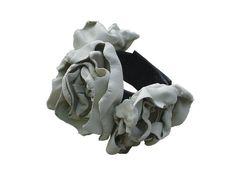 Bespoke lambskin flower bridal bracelet, ebony & ivory - product images  of