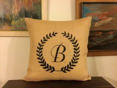 Monogram Pillow Personalized Pillow by BurlapDesignByGamze on Etsy