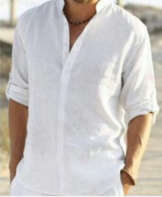 Linen kurtha type full arms shirts.  Really goes with all with white shoes