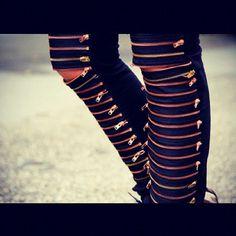 jeans zip zipper jeans zipped pants punk orange yellow gorgeous pants black original leather pants leggings skinny jeans black skinny jeans leather jeans zippers on jeans leather jeans pants knee high boots Rock N Roll Style, Rock And Roll, Glam Rock, Zippity Zip, Zip Zip, Grunge, Stockholm Fashion Week, Hipster, Rocker