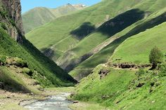 Mountain valley in the Caucasus,...