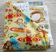 Double Sided Flannel Quilted Fabric | Baby Boy Newborn Gift Set Receiving Blanket/Burp by clubaloha
