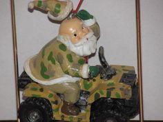 Camo Santa on ATV Quad Christmas Ornament NEW Duck Dynasty Hunter camping