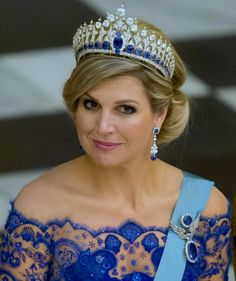 royalroaster: Queen Maxima in the Mellorio Sapphire Tiara, March 2015