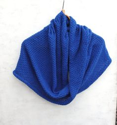 knitted cowl scarf knit blue lace infinity by peonijahandmadeshop