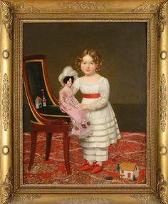 Henri François Riesener (Francés, 1767 - Título: Retrato de una niña con una muñeca y juegos infantiles. Doll Painting, Painting For Kids, Children Painting, Antique Dolls, Vintage Dolls, Nyc Art Museums, Antique Pictures, Miniature Portraits, Antique Paint