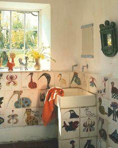 The World of Interiors Magazine - December lovely naif tiles in the bathroom Bathroom Inspiration, Interior Inspiration, Interior Architecture, Interior And Exterior, Magazine Deco, Interiors Magazine, Deco Boheme, World Of Interiors, Interior Decorating