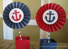 2 6 Nautical Rosettes Centerpieces Paper by BeautifulPaperCrafts 1st Birthday Parties, Birthday Party Decorations, Buffet Decorations, Birthday Diy, Halloween Decorations, Nautical Centerpiece, Summer Centerpieces, Sailor Birthday, Sailor Theme
