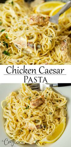 Chicken Caesar Pasta (One Pot!) This One Pot Chicken Caesar Pasta recipe is so easy to make! Angel hair pasta and blackened chicken are tossed in a creamy Parmesan sauce with a hint of Caesar dressing, lemons, and capers. Angel Hair Pasta Recipes, Chicken Pasta Recipes, Easy Pasta Recipes, Cooking Recipes, Pasta In A Pot Recipe, Angel Hair Chicken Pasta, Pasta With Chicken, One Pot Recipes, Easy Italian Recipes