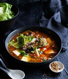 Spicy Sichuan-style soup with pork, lettuce and soft tofu recipe | Chinese soup recipe - Gourmet Traveller