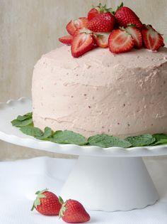 Strawberry Meringue Buttercream Cake