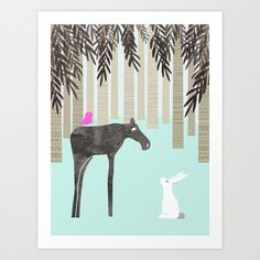 Moose Art Print by Cecilia Andersson