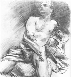 °John Singer Sargent - Kneeling Model - Date unknown - Fogg Museum of Art - Harvard University (United States - Cambridge, Greater Boston, Massachusetts) (LauChansArt) Guy Drawing, Life Drawing, Anatomy Drawing, Painting & Drawing, Person Drawing, John Singer Sargent, Beaux Arts Paris, Harvard Art Museum, Impressionist Artists