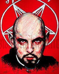 Print Anton LaVey Dark art Horror Satan Gothic by chuckhodi The Satanic Bible, Satanic Art, Dark Gothic Art, Dark Art, Anton, Laveyan Satanism, The Devil's Own, Satanic Rituals, Occult Symbols