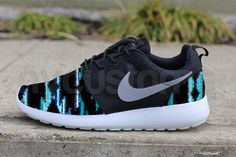 Nike Roshe Run Black Gamma Grey Tribal Blanket Print by NYCustoms, $175.00