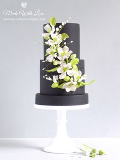 """Black Cake with Flower Spray  - """" Made With Love"""""""