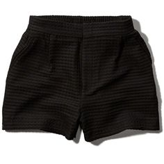 Abercrombie & Fitch High Waist Knit Tap Shorts ($18) ❤ liked on Polyvore featuring shorts, bottoms, short, pants, black, high-rise shorts, high waisted zipper shorts, high waisted shorts, high rise shorts and high-waisted shorts