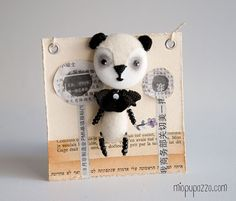 Art Doll Brooch Panda mixed media collage by miopupazzo on Etsy, $20.00