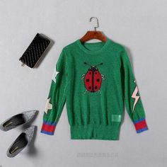 Fashion new spring summer butterfly ladybug star Gold and silver hollow out knitting cute green Sweaters women