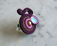 Soutache ring, Handmade ring, Hand Embroidered, Soutache Jewelry, Handmade from Italy, OOAK --------------------------------------- Ring handmade by