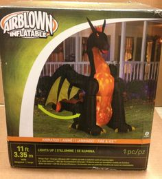 NEW 5' Tall Scary Black Cat w/ Hat LED Halloween Airblown ...