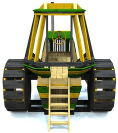 wooden tractor w/ ladder, wheels and roof