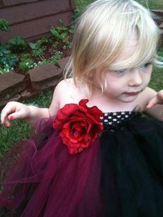 Black and Red Flower Girl Reniassance Tutu by pocketfulofposiesbou, $40.00