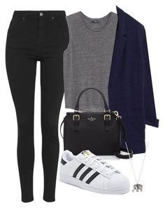 """""""Untitled #1338"""" by rache077 ❤ liked on Polyvore featuring Topshop, MANGO, Kate Spade, adidas, Accessorize and fall2015"""