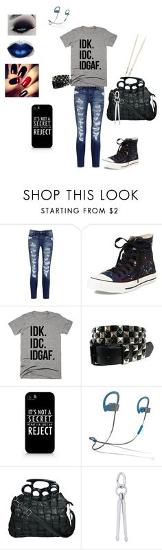 """""""New York Minute: Roxy Ryan Inspired"""" by roguearrow ❤ liked on Polyvore featuring Current/Elliott, Converse, Samsung, Beats by Dr. Dre, Poizen Industries and Rembrandt Charms"""