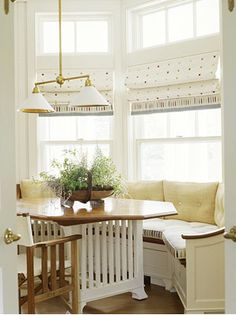 Kitchen nook. Window Table, Bay Window, Circle Table, Built In Seating, Banquette Seating, Home Renovation, Valance Curtains, Kitchen Ideas, Glass Desk