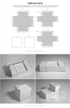 No ordinary cube, this trifold packaging design opens to reveal a main compartment flanked by two supplementary subsections. The hinges dramatically reveal the product all at once, or can be supplemented by a topper adding drama to the unveiling. Packaging Dielines, Box Packaging Templates, Packaging Design, Retail Packaging, Paper Box Template, Origami Templates, Box Templates, Cool Paper Crafts, Foam Crafts