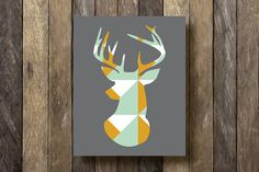 Stag Silhouette - 8x10 Printable - Geometric Art - Mint and Mustard - Geometric Deer Print - Tribal Wall Decor - Gallery Wall Print - Rustic...