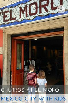"""Mexico City with Kids: Churros and Chocolate at """"El Moro"""". Churros are available to buy throughout the capital but our favourite place to enjoy this sweet treat is at Churrería el Moro, in El Centro Histórico. This cafe is something of an institution and is open 24 hours a day."""