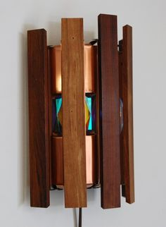Wood, Copper, and Colored Faceted Glass Sconce, Funky Furniture, Lighting Inspiration, Hanging Lights, Wood, Sconces, Light Fittings, Glass, Vintage Lamps, Side Lights