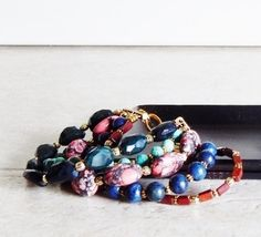 Chunky bracelet multistrand bracelet chunky beaded cuff bohemian jewelry colorful boho jewelry red turquoise brown eclectic jewelry gift