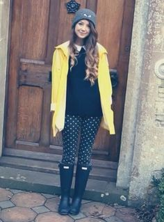 Love the rain boots and coat and leggings. Nto the sweater.