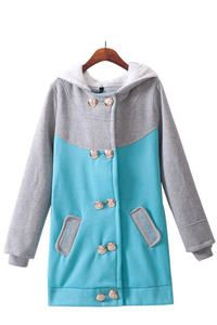 Blue Cute Doublebreasted Grey Sleeved&Hood Big Letter Pattern Jacket